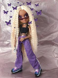 'Bratz Butterfly Punk Sasha ' Poster by Monsterlool Bratz Butterfly Punk Sasha Poster nails butterfly Bratz Doll Makeup, Bratz Doll Outfits, Black Girl Cartoon, Black Girl Art, Black Girl Aesthetic, Purple Aesthetic, 1990 Style, Black Bratz Doll, Brat Doll
