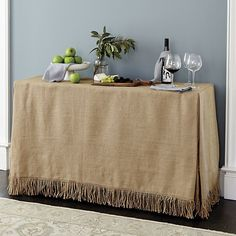 Sunbrella Tablecloth. Fringed Burlap Serving Tablecloth