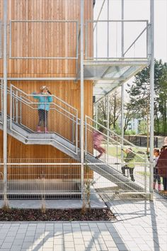 Soon this will be green. Let us introduce you to Rubina, our multifunctional building, a new educational and care centre for young people. It houses a kindergarten, the energy education centre, offices for the energy agency and scientific rooms for the MINT for Kids.programme. Photos @David Mathiessen #rubina #education #multipurpose #building #architecture #sustainability #timber #construction #wood #green #facade #plants #natural #materials #surfaces #light #atmosphere #project Education Center, How To Introduce Yourself, Sustainability, Green Facade, Deck, Stairs, Building Architecture, Construction, Young People