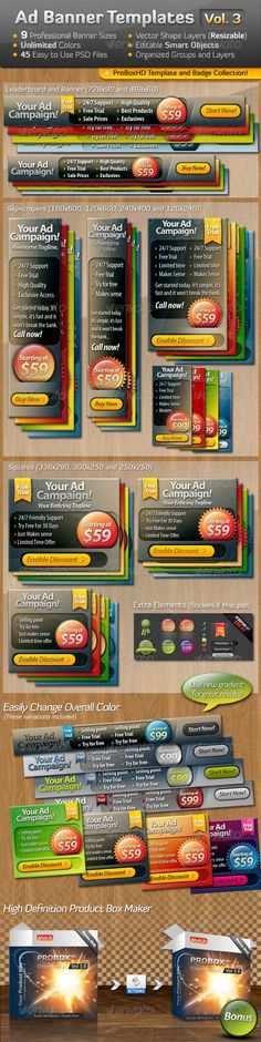 Ad Banner Template Collection Vol. 3  #GraphicRiver         This third volume of ad banners is a versatile mega pack of 9 standard banner sizes for advertising many products and services with modern eye-catching style. I have included a product box template as well as bonus elements to customize with such as badges, stickers, checkmarks and buttons