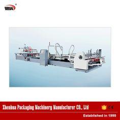 China supply manufacturer automatic straight line carton box gluing machine
