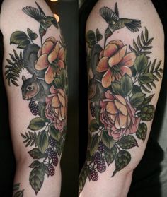 Kirsten Holliday flower squirrel berry hummingbird tattoo Colors are nice - greens and muted. Piercing Tattoo, Botanisches Tattoo, Fern Tattoo, Time Tattoos, Body Art Tattoos, Sleeve Tattoos, Herbst Tattoo, Tattoo Feminin, Squirrel Tattoo