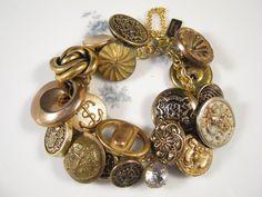 Vintage Button Bracelet Upcycled by JenniferJonesJewelry on Etsy, $45.00