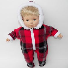 """bitty baby clothes doll boy girl 15"""" twin Snowsuit Red Plaid Winter handmade #15INCHBITTYBABY #ClothingShoes"""