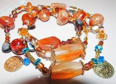 Golden Autumn Trinity - Stackable Bracelets - Three Pure Amber Beaded Stretch Bracelets On Sale - Three For The Price of ONE.  $18.85 USD