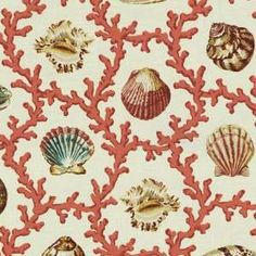Waverly Shell Walks Coral Fabric