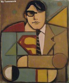 Tommervik Superman painting. Art. Cubism.