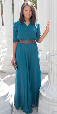 One of our most loved dresses- just read the reviews below! You will look effortlessly chic in this flowing maxi dress with cinched waist and cuffed wrist. Looks great belted. Available in 4 colors: P