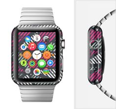 The Abstract Striped Vibrant Trangles Full-Body Skin Set for the Apple Watch