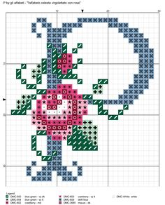 alfabeto celeste virgolettato con rosa: P