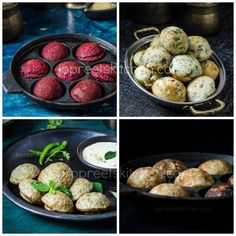 Paniyaram Varieties, I have compiled a list of 12 kuzhi paniyaram recipes. I have shared both sweet and kara paniyaram. Kuzhi Paniyaram is a famous snack or Healthy Cooking, Healthy Snacks, Cooking Recipes, Healthy Recipes, Veg Recipes, Bread Recipes, Easy Recipes, Recipies, Indian Snacks