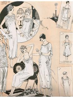 """lingerie illustration April 1925 Delineator Magazine  --  """"The success of the trousseau is founded on the slim lines of well cut lingerie"""""""
