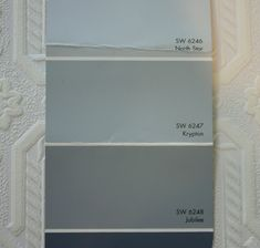 Tips and tricks for creating a small guest bath revamp with great paint colors and wallpaper. North Star Sherwin Williams, Sherwin Williams Krypton, Sherwin Williams Dover White, Home Paint Colour, Paint Color Combos, Kitchen Paint Colors, Blue Green Paints, Blue Gray Paint, Gray Color