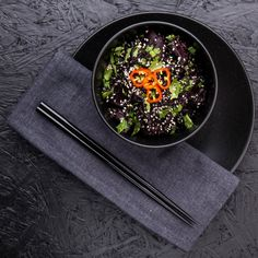 Dark, forbidden black rice with mirin and miso mushrooms give a umami packed vegetarian and vegan bowl of goodness