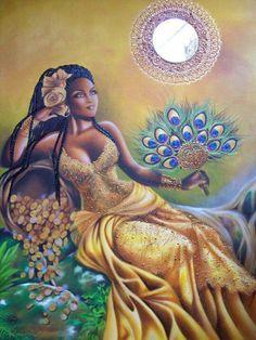 Oshun, Orisha Goddess of Sensuality Black Love Art, Black Girl Art, Art Girl, African Mythology, African Goddess, Oshun Goddess, Goddess Art, Earth Goddess, Black Goddess