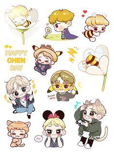 Chen stickers Exo Stickers, Cute Stickers, Kawaii Stickers, Exo Chen, Sehun, Exo Cartoon, Art All The Way, Exo Anime, Nct Kun