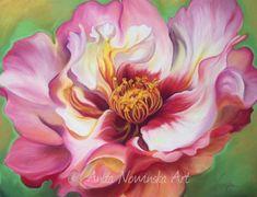Love- Flower painting- big- pink, red white- dog rose- anita nowinska-artist  Rose painting
