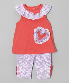 Look at this #zulilyfind! Weeplay Kids Coral & Purple Heart Tunic & Pants - Infant by Weeplay Kids #zulilyfinds