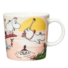 Evening swim Moomin mug 2019 from Arabia by Tove Jansson, Tove Slotte Moomin Shop, Moomin Mugs, Les Moomins, Scandinavian Design Centre, Scandinavian Kids, Pirate Cat, Moomin Valley, Tove Jansson, Diving Board