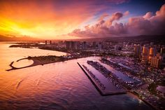 Stunning sunset photo over Waikiki Yacht Club and Magic Island. Cameron Brooks Photography © https://www.facebook.com/cameronbrooksphotography?fref=ts