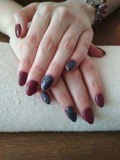 purple gel, black glitter