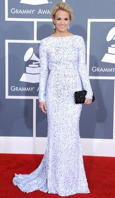 Carrie Underwood wearing a mint embellished gown at a red carpet event~beautiful dress for a high class event!