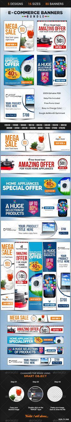 E-Commerce Banner Bundle Template PSD   Buy and Download: http://graphicriver.net/item/ecommerce-banner-bundle-5-sets/8598116?WT.ac=category_thumb&WT.z_author=BannerDesignCo&ref=ksioks