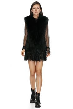 Channel your inner beast in this versatile and elegant fox and rabbit black vest for a wildly sexy look designed by Vero Milano. Black Fur Vest, Fox Fur Vest, Fur Gilet, Fox And Rabbit, Jackets Online, Glamour, Skinny, Elegant, Coat