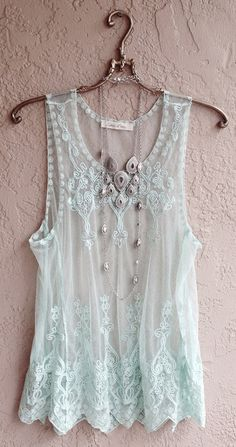 ☮ American Hippie Bohemian Boho Style ~ Summer Mint Green Sheer embroidered Camisole