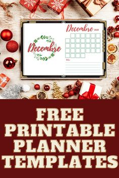 I'm in love with these freebies. These Christmas themed printables for December are everything you need to organize this year! Instant download! ♥ . Cover page, monthly planner, 3 types of a weekly planner, mood tracker and wish list #christmas #planner #christmastheme #monthlyplanner #weeklyplanner #wishlist #moodtracker