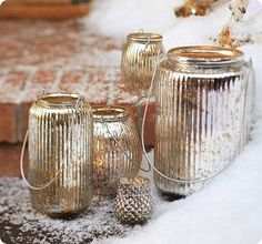 Outdoor Looking Glass Candle Lanterns
