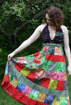 Bright and Colorful - Hippie Festival Maxi dress - Bustle back - BATIK - Crocheted halter bodice. By Catie Crochets