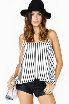 French Kiss Striped Tank Satin Cami, French Kiss, Striped Tank, White Outfits, Cami Tops, Nasty Gal, Cropped Pants, Latest Trends, Turtle Neck