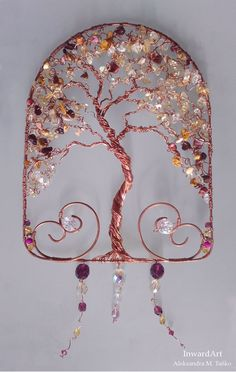 """Check out our internet site for even more information on """"metal tree wall art ideas"""". It is an exceptional spot for more information. Wire Crafts, Metal Crafts, Jewelry Crafts, Tree Of Life Jewelry, Metal Tree Wall Art, Wire Trees, Button Art, Wire Weaving, Beads And Wire"""