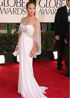 5402aff75ea3 Jennifer Lopez White Dress at 2011 Golden Globe Awards Red Carpet Dress