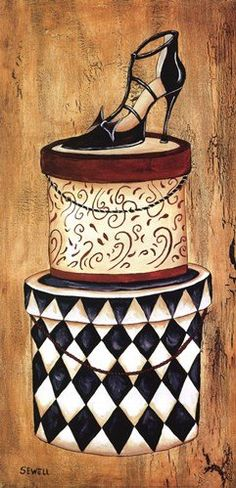 Vintage Hat Box on Museum Wrap Canvas - by Krista Sewell