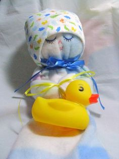 Fleece Blanket Buddy With Detachable Rubber Ducky in Blue Pink White