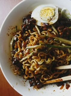 Jjajang-myeon (짜장면) / Black Bean Sauce Noodles by peegaw: Comfort food for the soul. #Noodles #Black_Bean