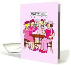 Ladies in pink, invitation to pink themed party. card