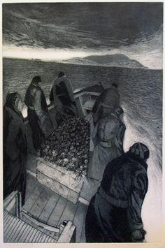 Ashes to the sea - David Blackwood #art #boat #grey