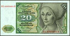 German banknotes20 DM Deutsche Mark banknote,issued by the Deutsche Bundesbank (German Federal Bank) -2.01.1980.