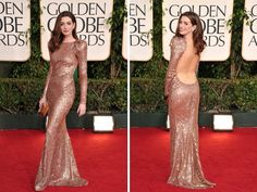 Anne Hathaway in Armani Prive, Golden Globes 2011