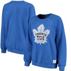 faff33ee2 Toronto Maple Leafs Original Retro Brand Women s Vintage Tri-Blend Pullover  Sweatshirt - Blue -