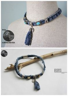 DIY Denim Necklace with Tassel Tutorial from Gloria Fort. This DIY denim necklace is made out of the side seam of a pair of jeans, and can easily be made into a bracelet. The closure is magnetic, maki