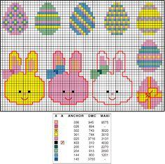 Para animar o craft de Páscoa, encontramos na internet alguns gráficos para bordar ponto cruz. Coelhinhos e ovinhos bem fofos para bordar barrinhas, da Arte Artesanato: O Mundo Crafts também postou muita coisa legal: E no Banana Craft, encontramos lindos ovos decorados: