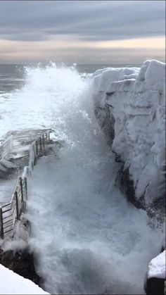 Thunder Hole, Acadia National Park in winter