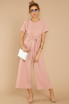 Pick Your Side Blush Pink Jumpsuit Pink Jumpsuit, Jumpsuit Outfit, Jumpsuit With Sleeves, Pink Dress Casual, Classy Dress, Casual Dresses, Dress Formal, Fancy Dress, Looks Instagram