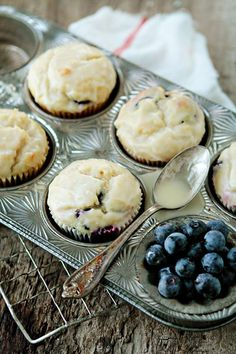 Lemon Blueberry Doughnut Muffins - whoa these sound amazing, and i can see the glaze.. mmm