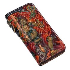 e762d28c3879 Handmade Leather Acalanatha Tooled Long Mens Chain Biker Wallet Cool  Leather Wallet With Chain Wallets for Men