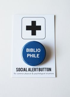 BIBLIOPHILE Social Alert Button book lover by WordForWordGreetings, $3.00